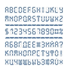 Digital font alphabet letters and numbers vector