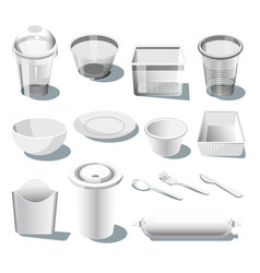disposable plastic dishware or tableware isolated vector image