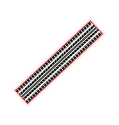 Dotted red tire track vector
