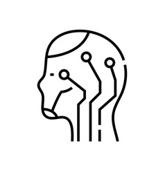 E-intellect line icon concept sign outline vector