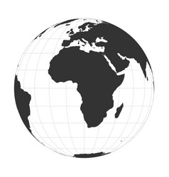 Earth globe focused on africa continent vector
