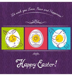 Easter card painted with rabbit egg and hen vector