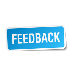 Feedback blue square sticker isolated on white vector