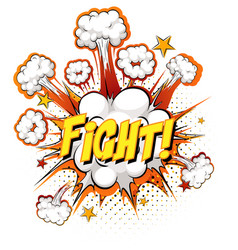 Fight text on comic cloud explosion isolated on vector