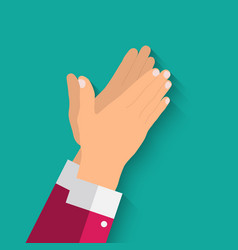 Flat concept success applause hands clapping vector