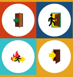flat icon door set of entrance entry fire exit vector image