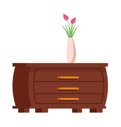Flower vase over a cupboard vector