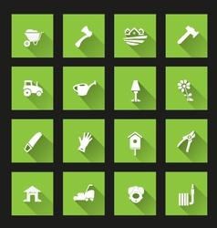 Garden icons Long Shadow vector image