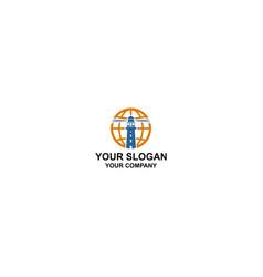 global lighthouse logo design template vector image