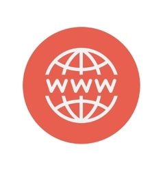 Globe with website design thin line icon vector