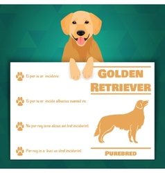 Golden retriever dog banner vector