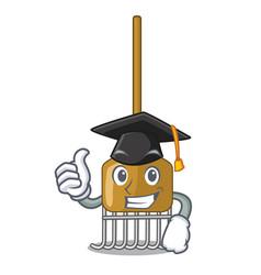 graduation cartoon rake leaves with wooden stick vector image
