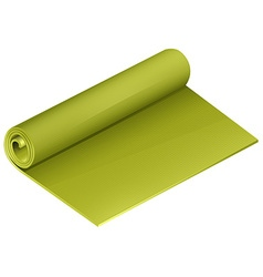 Green yoga mattress roll vector
