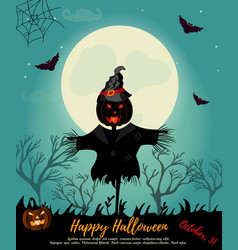 halloween background with scarecrow full moon and vector image