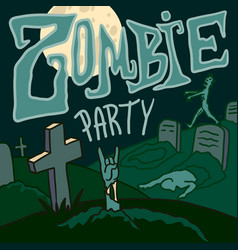 Halloween zombie party concept background hand vector