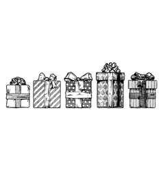 hand drawn gift boxes vector image