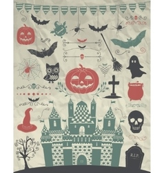 Hand Sketched Doodle Halloween Icons on vector image