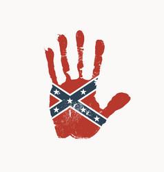 handprint in colors confederate rebel flag vector image