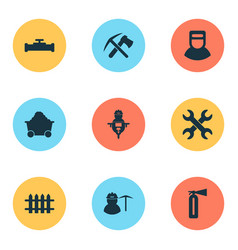 industry icons set with pipeline with crane fence vector image