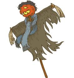 Jack-o-lantern scarecrow for halloween vector
