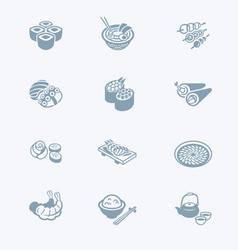 japanese sushi-bar icons - tech series vector image