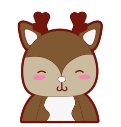line color adorable and shy deer wild animal vector image