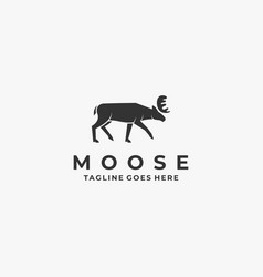 logo moose pose silhouette style vector image