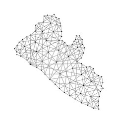 Map of liberia from polygonal black lines and dots vector