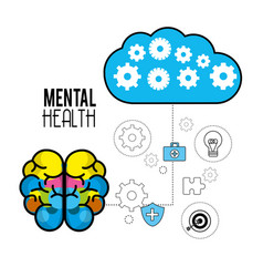 Mental health brain with care tips vector