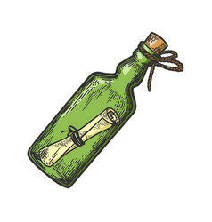 message in bottle color engraving vector image