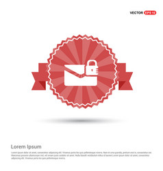 Message secure icon - red ribbon banner vector