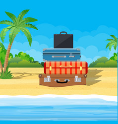 open baggage luggage suitcases vector image
