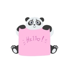 Panda With The Template For The Message vector image