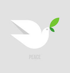 peace dove flat style of white pigeon with green vector image