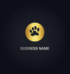 pet foot step gold logo vector image