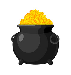 pot with bitcoin treasures of cryptocurrency lot vector image