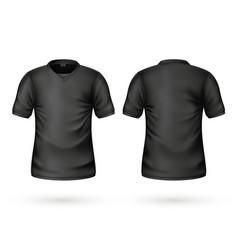 Realistic t-shirt black blank mockup vector
