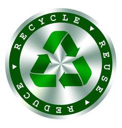 Recycle reuse reduce green hologram iconarrows vector