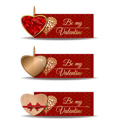 red banners set for valentines day vector image