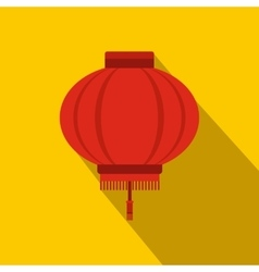 Red chinese lantern icon flat style vector image