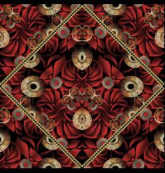 Red floral greek key seamless pattern vector