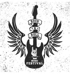 rock and roll festival poster template winged vector image