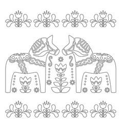Scandinavian outline design swedish dala o vector