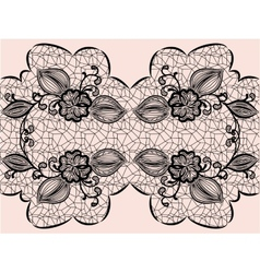Seamless black lace ribbon with floral elements vector image