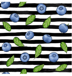 seamless pattern blueberry with leaves contour on vector image