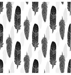 Seamless pattern with black watercolor feathers vector