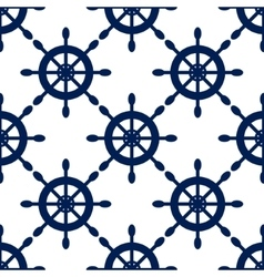 Seamless pattern with nautical blue helms vector image