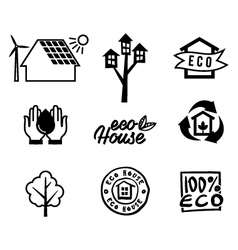 Set icons eco home vector image