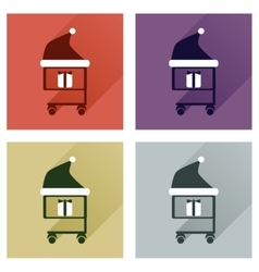 Set of flat icons with long shadow cart Christmas vector image