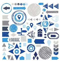 Set of sketch geometric elements - arrows circles vector